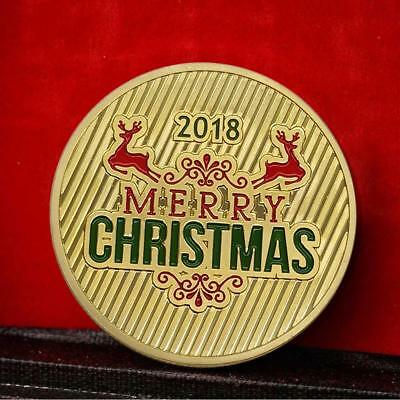 Merry Christmas Commemorative Round Coins Bitcoin Gold/Silver Plated Coins