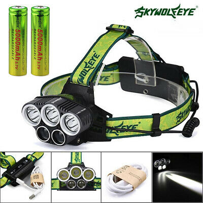 30000LM 3*T6+ 2 XPE LED 18650 USB Rechargeable Super Headlamp Head Light