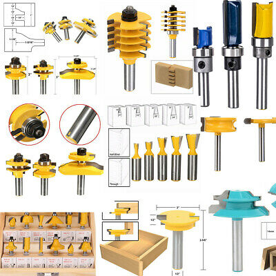 1/2'' 1/4'' Shank Straight & T Slot & Lock Miter Router Bit Set for Woodworking