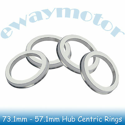 4PC Alloy Aluminum Wheel Spigot Spacers Hub Centric Rings 73.1mm OD to 57.1mm ID