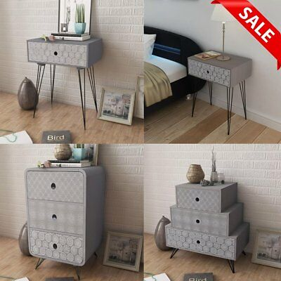 Grey Night Stand Bedroom Bedside Table Unit Cabinet 1/3 Drawer Scandinavian Chic