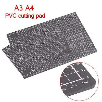 A3 A4 PVC Self Healing Cutting Mat Craft Quilting Grid Lines Printed Board Black