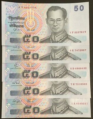 Thailand Banknote 5 x 50 Baht King Rama IX Complete Signature Series 15 UNC.