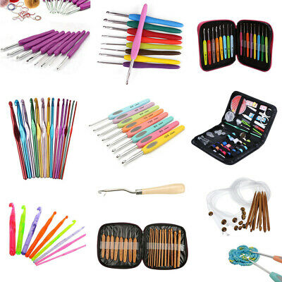 Plastic Aluminum Crochet Hooks Bamboo Knitting Knit Needle Handle Weave Yarn Set