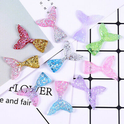 10pcs Mixed Slime Charms Mermaid Tail Cabochon Keychain DIY Scrapbooking Decor