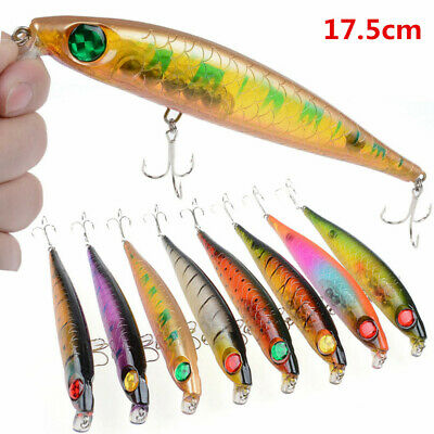 17.5cm Plastic 3D Eyes Fishing Lures Stick Bait Minnow Hard Body Fishing Bait