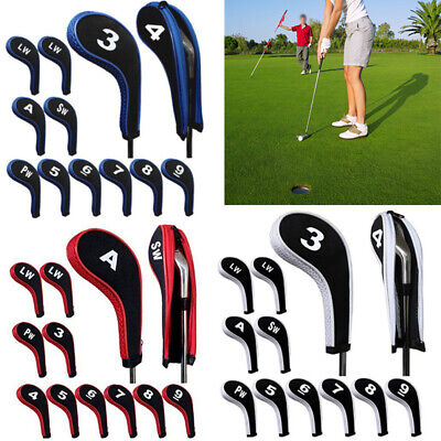 12pcs/set  Number Print Golf Club Iron Head Covers Set with Zipper Long Neck