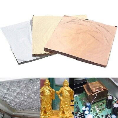 100 Sheets Gold Silver Copper Leaf Foil Paper Gilding Art Craft Decor 14x14cm