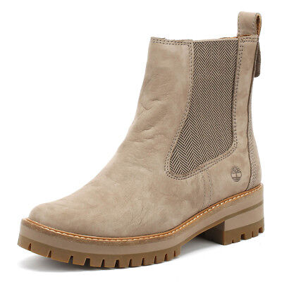 Timberland Womens Boots Taupe Courmayeur Valley Chelsea Winter Ankle Shoes
