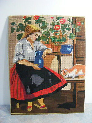 Vintage Hand Embroidered Tapestry European Young Woman & Her Cat - Needs Frame