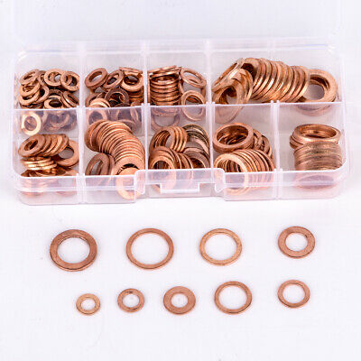 200PCs Solid Copper Washer M5-M14 Flat Ring Sump Plug Oil Seal Assorted Kit