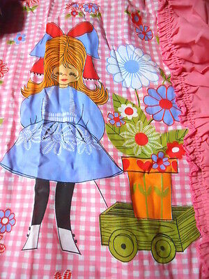 Vintage New MOD Flower Power Pink Gingham & Girl Canopy Twin Pillow Cases Crafts