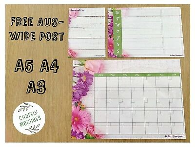 Floral Fridge Magnet Whiteboard Family Office Memo Message Reminder Notes Diary