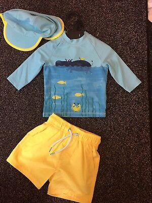 BNWOT Baby Boys Swimsuit Set Top Shorts Hat M & S 12-18 Months Sun safe UPF50+
