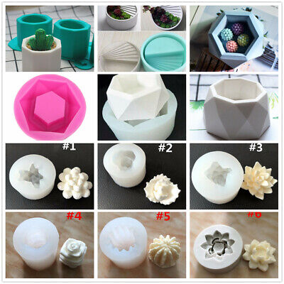 Assorted 3D Silicone Flower Pot Mold & Succulent Plant Mold DIY Crafts Mould