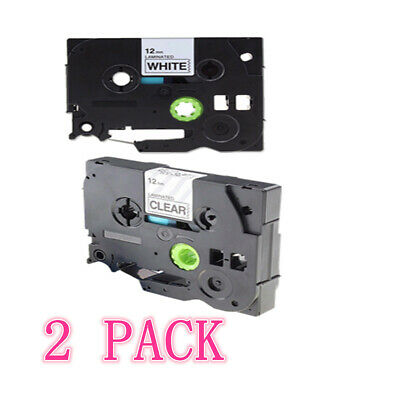 2Pack 12mm 8m Black on White P-Touch Label Tape Compatible For Brother TZ231 131