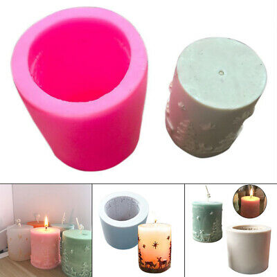 3D Christmas Tree Cylinder Candle Soap Mould Flexible Silicone Handmade Mold