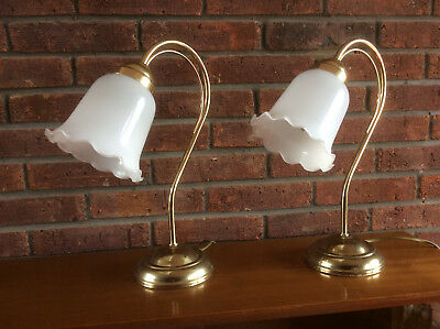 Vintage pair of Brass and glass table lamps lights