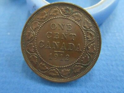1912 CANADA One Cent PENNY King George V large  copper coin