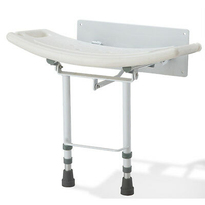 Wall mounted folding fold down shower seat chair adjustable legs ex display