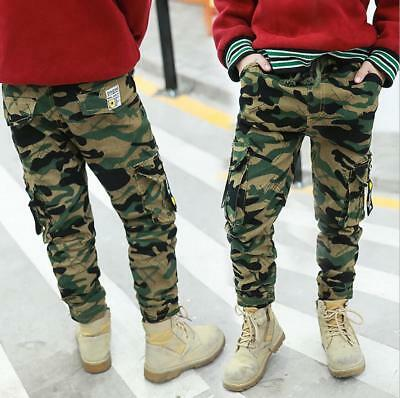 Kids Boys Camouflage Combat Cargo Work Trousers Military Army Biker Pants New