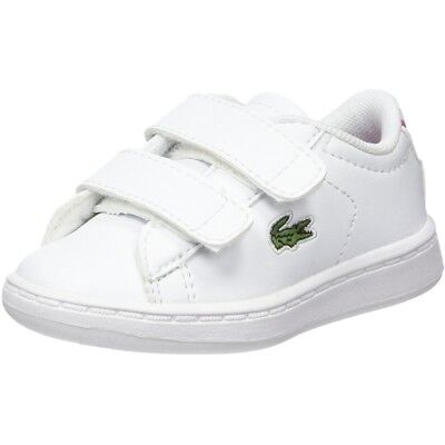 fcd5de78e7615 Lacoste Carnaby Evo BL 1 White Pink Synthetic Baby Trainers Shoes