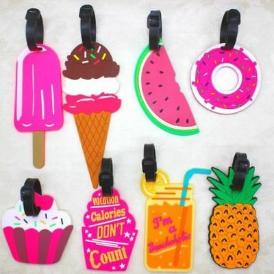Lovely Silicone Fruit Luggage Bag Tags Name Address ID Suitcase Travel Labels GA
