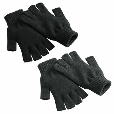 Unisex Mens Womens Ladies Fingerless Ribbed Knitted Wooly Winter Gloves