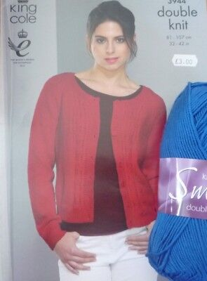 King Cole Smooth DK Ladies Round Neck Cardigan Knitting Kit