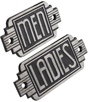 Toilet Signs - 1x Ladies 1x Mens - Art Deco Cast Iron Plaque