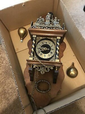 Vintage Wall Clock With Fhs Hermle 241-80 Movement Missing Pendum