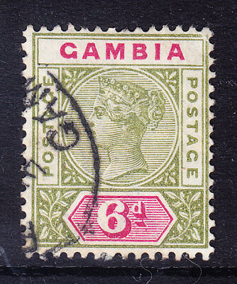 GAMBIA QV 1898 SG43 6d olive-green & carmine - very fine used. Catalogue £48