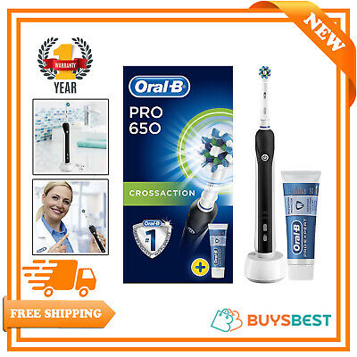 Oral-B Pro 650 Black CrossAction Electric Rechargeable Toothbrush+Toothpaste Set