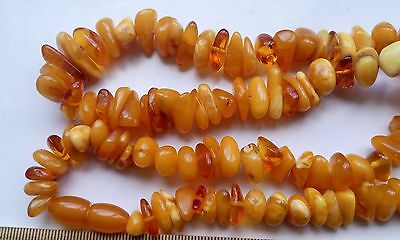 Natural Antique Baltic Vintage Amber OLD BUTTERSCOTCH EGG YOLK Necklace 45 g.