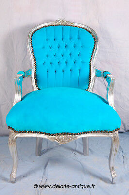 Louis Xv Arm Chair French Style Chair Vintage Furniture Blue And Silver Wood