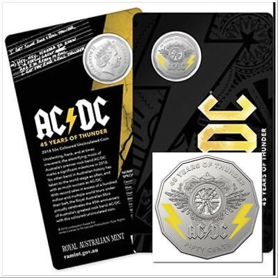 2018 AC/DC 45 Years of Thunder 50 Cents UNC Carded Coloured Coin SOLD OUT