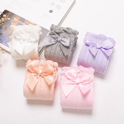 Baby Girl Toddler Kids Knee High Long Socks with Bow Frill 0 to 4 Years Old