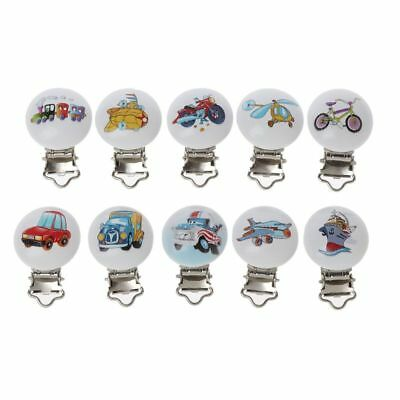 5pcs/ lot Baby Pacifier Clips Mixed Printed Wood Metal Holder Clasps 4.4cm x 3cm