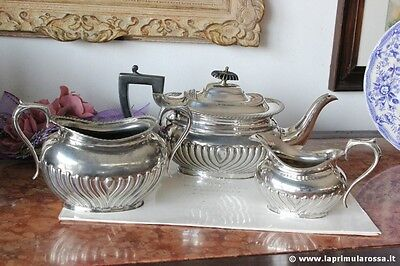 Antique Set Of You In Silver Plate Service English Period Three Pieces Sheffield