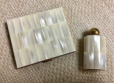 Vintage SCHILDKRAUT Genuine Mother of Pearl Compact and Perfume Bottle - 2pc Set