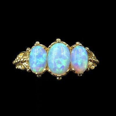 Opal Three Stone Trilogy 18ct Gold on Silver Fancy Ring Antique Victorian Style
