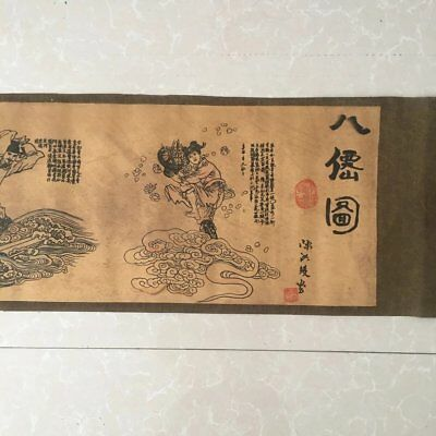 "chinese old paper painting ""eight immortals figure "" scroll painting mural b01"