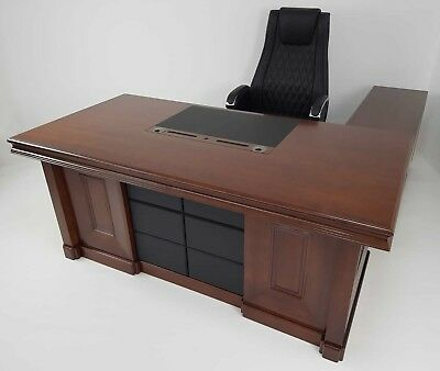 Large Executive Office Desk 3 piece Set Walnut Real Wood Veneer HSN-2018
