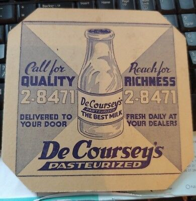 vintage DE COURSEY'S PASTEURIZED MILK HOT PAD TRIVET   Kansas Dairy Advertising