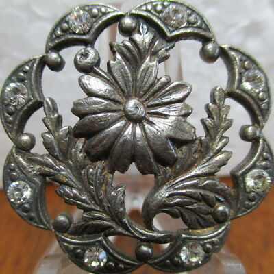 """1940s French Silver Plated Metal Button """"FLOWERS W/RHINESTONES"""" Pierced Vintage"""