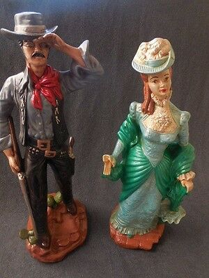 """Pair of Hand Painted Figurines Vintage 24"""" Tall Cowboy & Lady Dressed 1800""""s"""