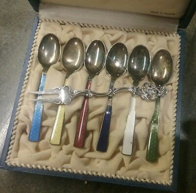T H Marthinsen Norway Sterling Spoons And Pickle Fork With Original Box