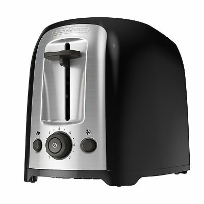 Toaster Classic Oval Extra Wide Slot Stainless Steel Accents 2-Slice Black