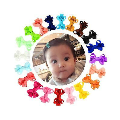 """20Pcs 2"""" Small Baby Hair Bows Ribbon Fully Lined Clips for Girl... Free Shipping"""