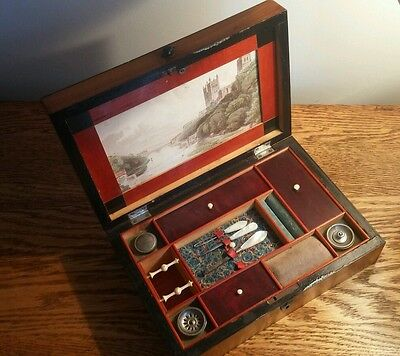 UNUSUAL SATINWOOD & CROSSBANDED VICTORIAN LADIES WORK BOX WITH PICTURE LID c1865